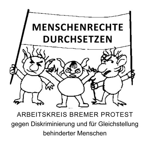 Drei Bremer Trolle halten ein Transparent auf dem zu lesen steht Menschenrechte durchsetzen