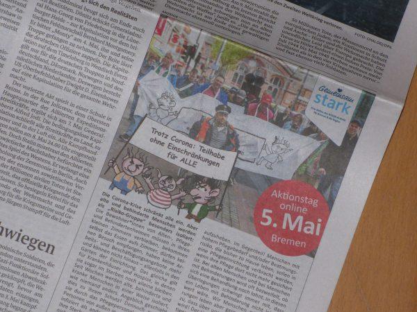 Anzeige im Weser Kurier vom 5. Mai 2020