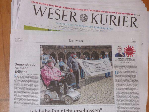 Bericht im Weser Kurier vom 6. Mai 2020