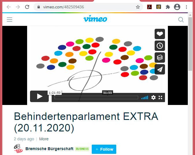 Vorschau Vimeo Aufzeichnung vom Behindertenparlament